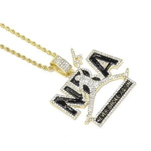 Gold Iced Out NBA NEVER BROKE AGAIN Charm Chain